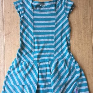 Blue and grey striped American girl dress